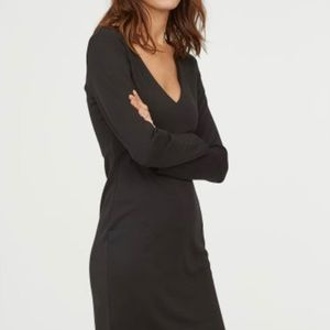 H & M Size M Black Basic Dress Long Sleeves